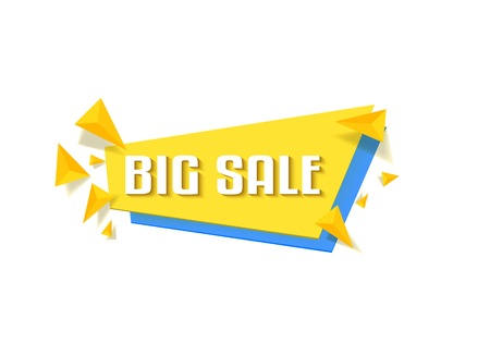 Illustration of Sale Banner. Flat Bright Big Sale Sticker Tag Template Isolated