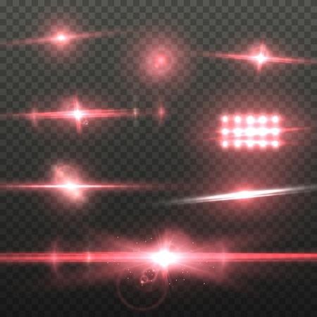 Illustration von Lens Flare. Transparenter Lens Flare-Effekt. Helle Sunflare-Explosionsschablone