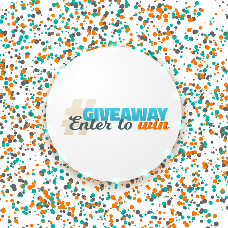 Illustration of Button Giveaway Competition Template. Realistic Button with Confetti. Enter to Win Prize Social Media Promotion Concept Illustration