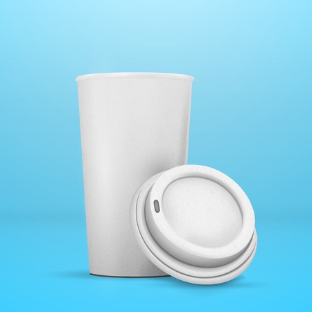 Illustration of Coffee Cup Mockup. Realistic Open Coffee Takeout Cup