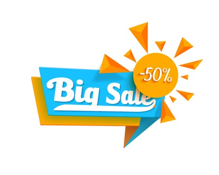 Illustration of Sale Tag Template. Big Sale Promotion Banner Isolated on White Illustration