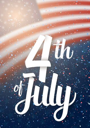 Illustration of USA The Day of Independence  Poster. Happy The 4th of July America Flag on Blue Background with Stars and Confetti 版權商用圖片 - 79393505