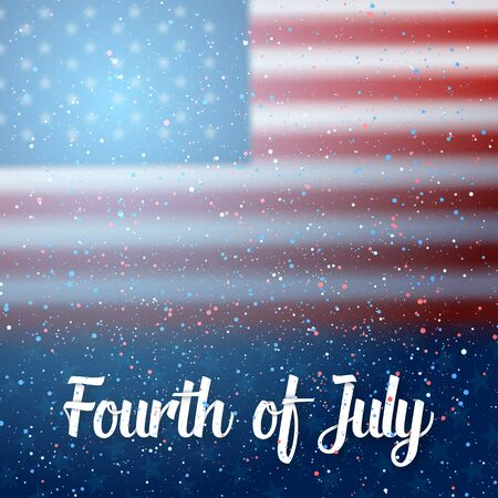 Illustration of USA Independence Day  Poster. Happy 4th of July America Flag on Blue Background with Stars and Confetti 版權商用圖片 - 79637888