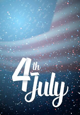 Illustration of Independence Day Vector Poster. Happy 4th of July USA Flag on Blue Background with Stars and Confetti 版權商用圖片 - 79637892