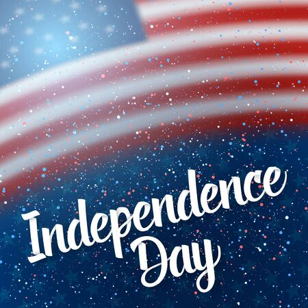 Illustration of The Day of independence of USA  Poster. 4th of July American Red Flag on Blue Background with Stars and Confetti 版權商用圖片 - 80147403
