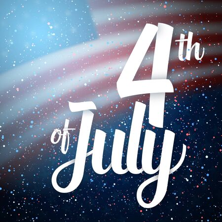 Illustration of Independence Day Vector Poster. The 4th of July Paper Lettering. American Red Flag on Blue Background with Stars and Confetti 版權商用圖片 - 80163689
