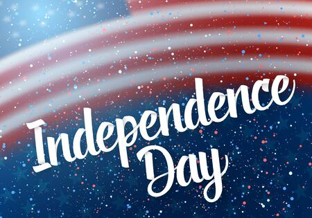 Illustration of Happy Independence Day Vector Poster Template Lettering with Paper Effect. 4th of July American Flag on Blue Background with Stars and Confetti 版權商用圖片 - 80163700