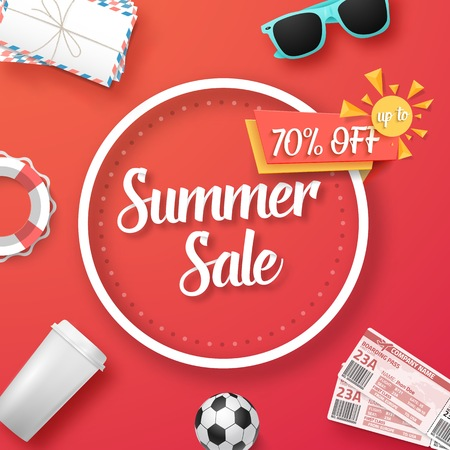 Illustration of Summer Sale Vector Poster. Bright Sale Flyer Template with Travel Icons
