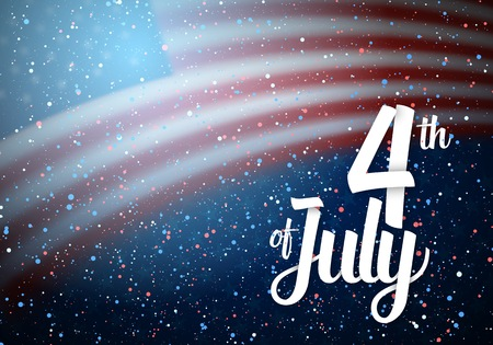 Illustration of Independence Day Poster Template. 4th of July Lettering. American Flag on Blue Background with Stars and Confetti Effect
