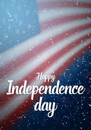 Illustration of Happy Independence Day Poster Template Lettering with Paper Effect. 4th of July American Flag on Blue Background with Stars and Confetti 版權商用圖片 - 81123065