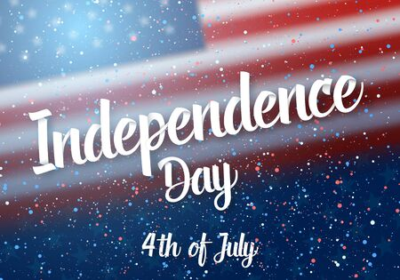 Illustration of Independence Day of USA Poster. 4th of July American Red Flag on Blue Background with Stars and Confetti 版權商用圖片 - 81358975