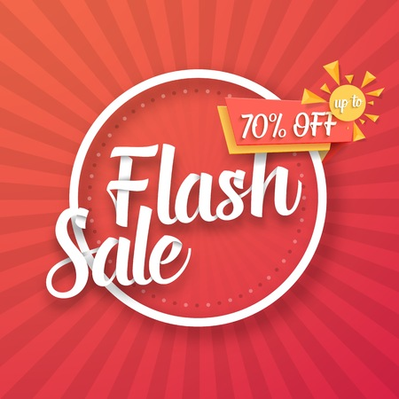Illustration of Flash Sale Poster with Sunburs Lines on Background. Bright Sale Template
