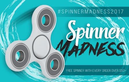 Illustration of Vector Fidget Spinner. Realistic Hand Spinner Sale Banner Modern Colorful Template