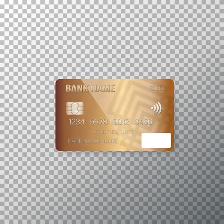 photorealistic: Illustration of Credit Card. Photorealistic Bank Card Isolated on Transparent Background