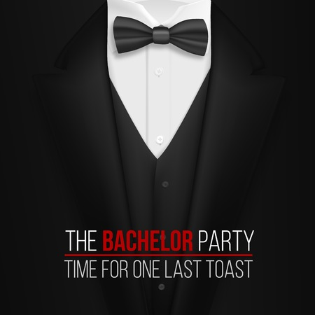 Ilustração do molde do convite do despedida de solteiro. Terno preto 3D realista com gravata borboleta