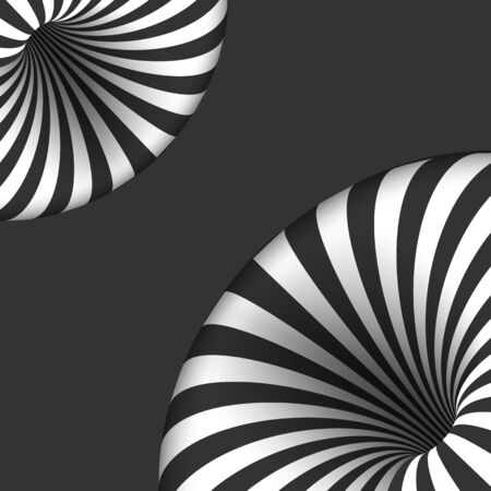hole: Illustration of Tunnel Illusion. Spiral Optical Illusion Effect Illustration
