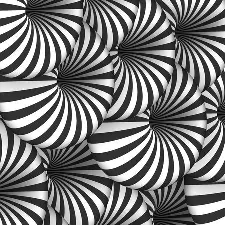 Illustration of Tunnel Illusion. Spiral Optical Illusion Effect Illustration