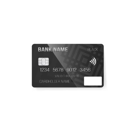 photorealistic: Illustration of Credit Card. Photorealistic Bank Card Isolated on White Background