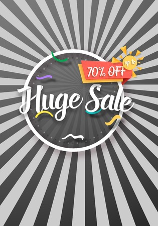Illustration of Huge Sale Poster with Sunburs Lines on Background. Bright Sale Flyer Template