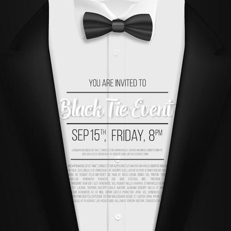 현실적인 검은 양복의 그림입니다. 검은 넥타이 이벤트 초대 템플릿. 보우 타이가 입은 Mens Suit