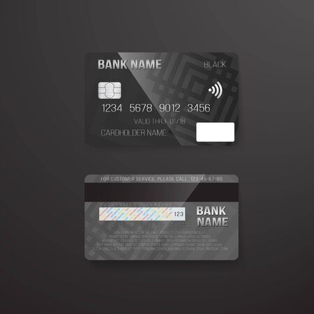 electronic commerce: Illustration of Photo realistic  Credit Card on Dark Background