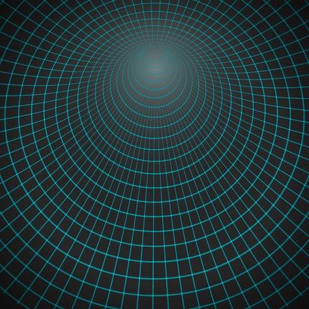 Illustration of  Spiral Tunnel. Wireframe Technology Vortex Tunnel Illusion Background