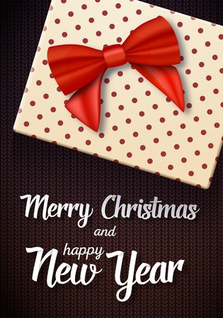 Illustration of Marry Christmas Gift Card. Realistic Gift Box with Red Ribbon on top and Paper Lettering Illustration