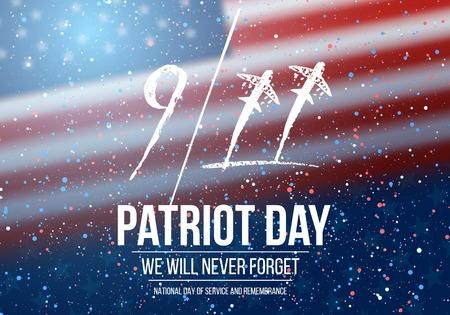 Illustration of Patriot Day Poster. September 11th National Tragedy Poster on USA Flag Background