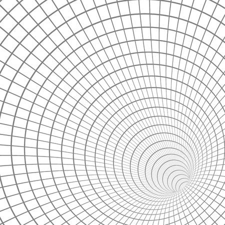 Illustratie van Wireframe Tunnel Vortex Illusion Technology Achtergrond