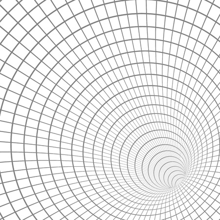 Illustration of Wireframe Tunnel Vortex Illusion Technology Background