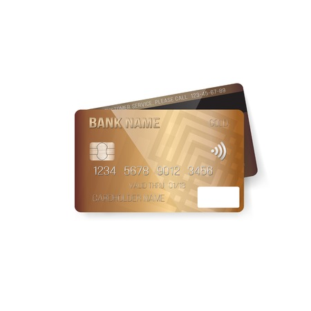 electronic background: Illustration of Credit Card. Photo realistic Bank Card Isolated on White Background Illustration