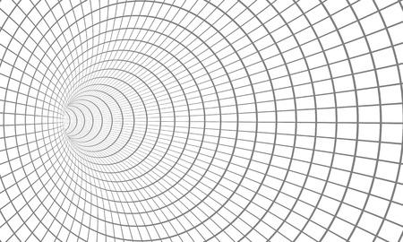 Illustration des gewundenen Tunnels. Wireframe Technologie Vortex Tunnel Illusion Hintergrund