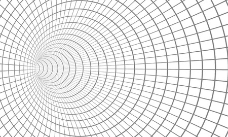 Illustration of Spiral Tunnel. Wireframe Technology Vortex Tunnel Illusion Background