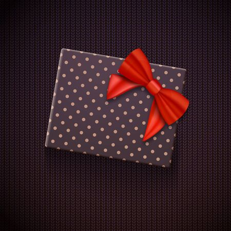 holiday shopping: Illustration of Realistic Gift Box with Red Ribbon. Greeting Card Template