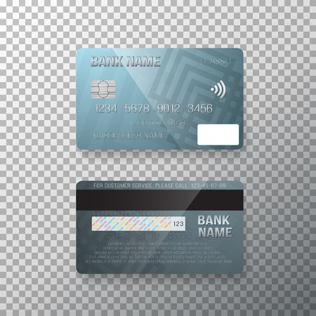 business card template: Illustration of Credit Card. Photo realistic Bank Card Isolated on Transparent Background