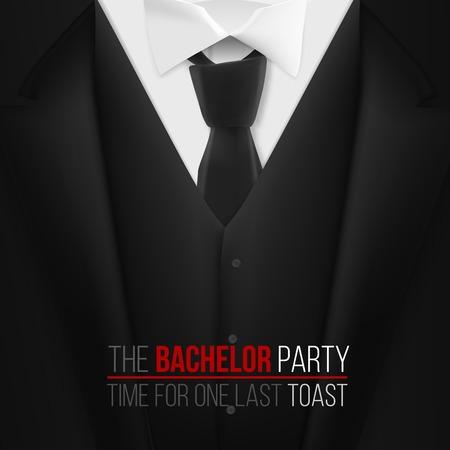 Ilustración de la plantilla de invitación de despedida de soltero. Traje negro 3D realista con corbata