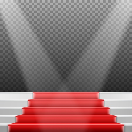 red carpet background: Illustration of Stairs Template. 3D Realistic Winner Stage Stairs with Red Carpet and Bright Light Illustration