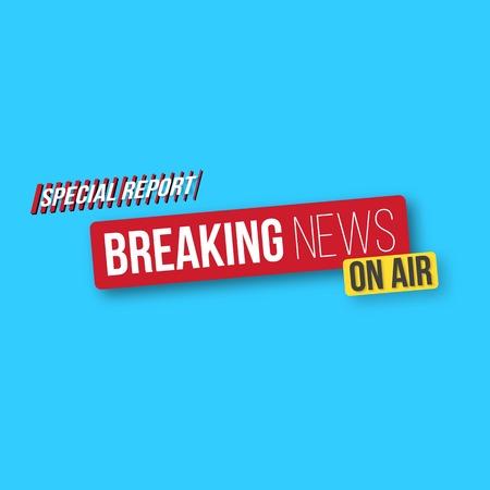 journalism: Illustration of Breaking News Banner Template. News Opener. Broadcast Design Layout Illustration