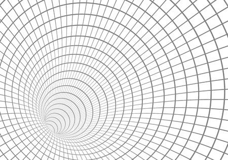 Illustration of Wire frame Tunnel Vortex Illusion Technology Background