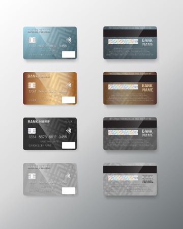 Illustration of Realistic Credit Card Set Ilustracja