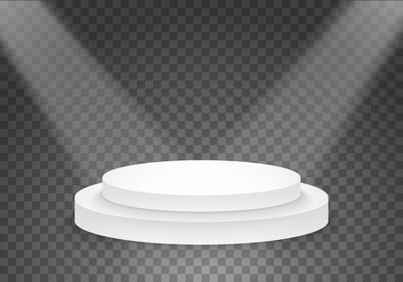 Illustration of  Black Platform Template. 3D Realistic  Winner Podium with Bright Light