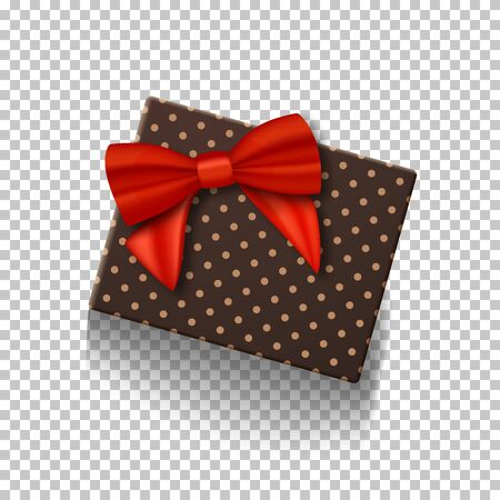 Illustration of  Gift Box with Red Ribbon Isolated on Transparent Background