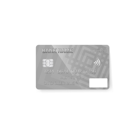 Illustration of  Credit Card. Photorealistic Bank Card Isolated on White Background Ilustracja