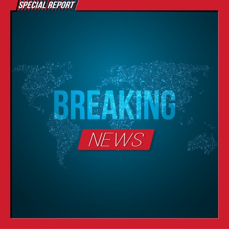 Illustration of Breaking News Banner.  News Report Template on Glowing Planet Background Ilustracja