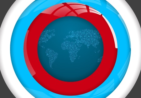 Illustration of Global Map. World Map Glowing Atlas Looking Through Class Circles Ilustracja