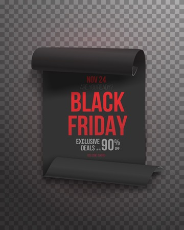 Illustration of Black Friday Poster. Realistic Paper Scroll Template Isolated on Transparent Background