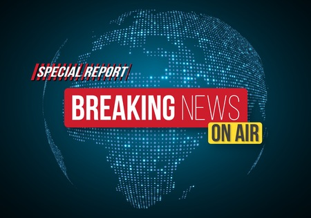 Illustration of Breaking News  Banner on Bright Earth Glowing Globe Background.