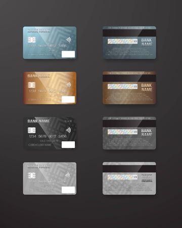 Illustration of Realistic Credit Card Template Set. Bank Card Mockup Ilustracja