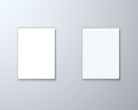 Illustration of Realistic Blank Notepad TextBook Icon. Notepad Template Set
