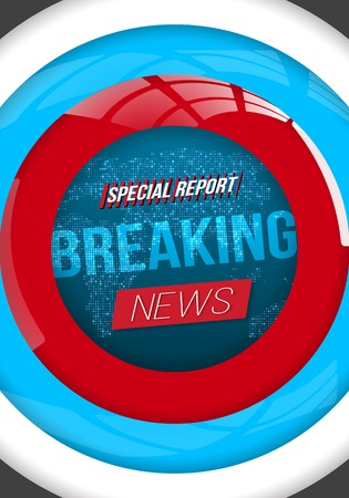Illustration of News Banner Template. Breaking News Design Layout on Bright Planet Background Ilustracja